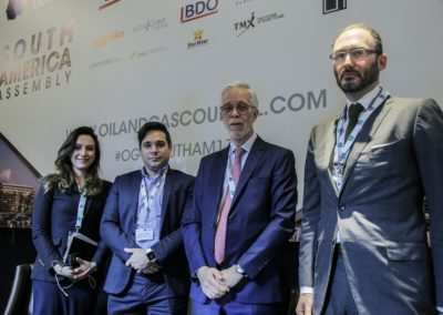 Isabella Saval, Daniel Ridelener, Justin Edmiston, Javier Gremes Cordero at South America Assembly
