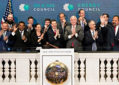 Iain Pitt and team from Oil & Gas Council celebrate launch of NYC Finance Assembly at NYSE