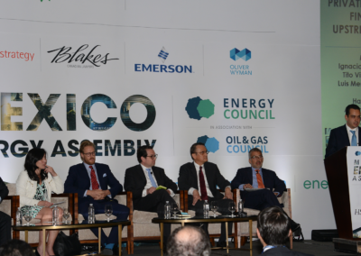 Victor Coalla moderating the Private Equity panel at Mexico Assembly